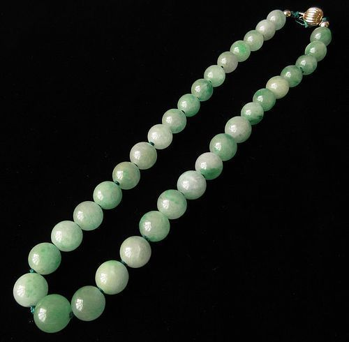 Chinese Jadeite Bead Necklace w/ 14K Gold