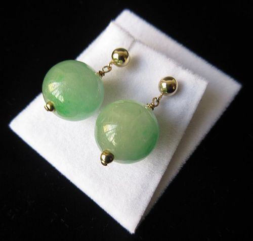 Chinese Jade Drop Earrings w/ 14K Gold