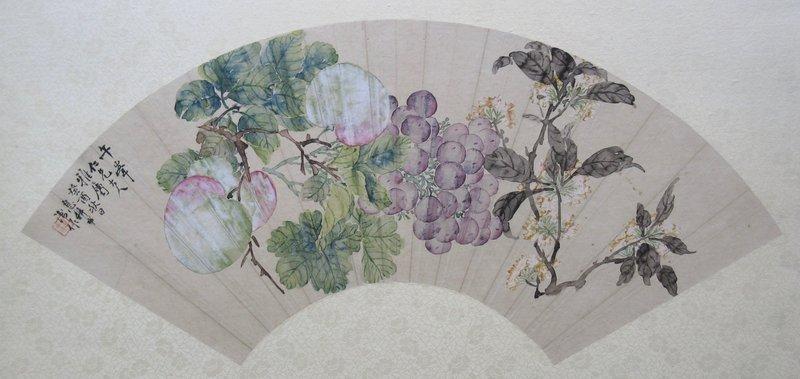 Chinese Fan Painting of Flowers and Fruits