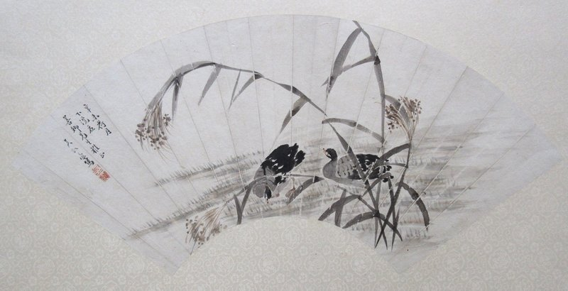 Chinese Fan Painting of Ducks