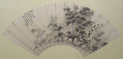 Chinese Fan Painting of a Bamboo Forest
