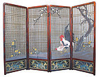 Japanese Meiji Period 4 Panel Carved Wooden Screen with Chickens