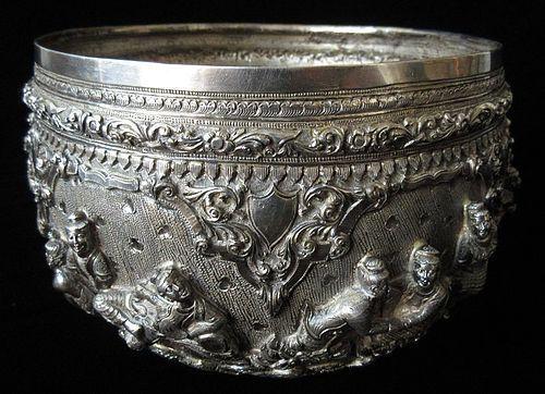 Antique Burmese Large Sterling Silver Bowl