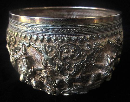 Antique Burmese Sterling Silver Bowl
