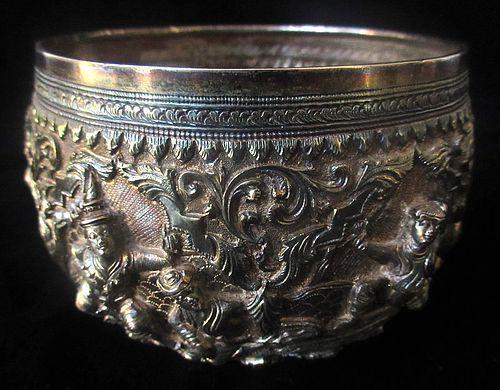 Antique Burmese Sterling Silver Bowl