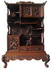 Antique Japanese Ornately Carved Cha Tansu