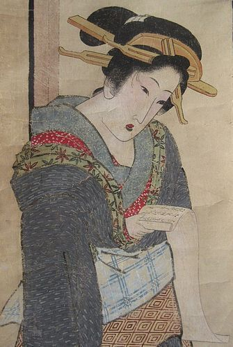 Antique Japanese Beauty Scroll Painting