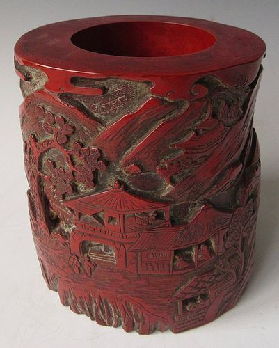 Antique Chinese Cinnabar Brush Pot