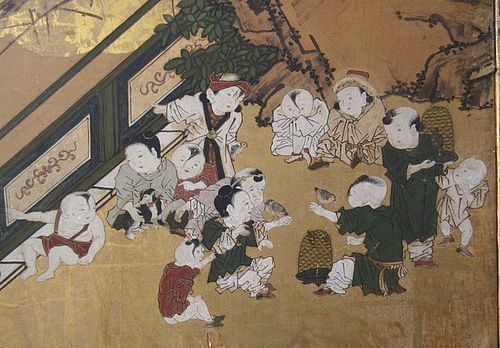 Japanese Edo Period 6-Panel Screen of Boys at Play