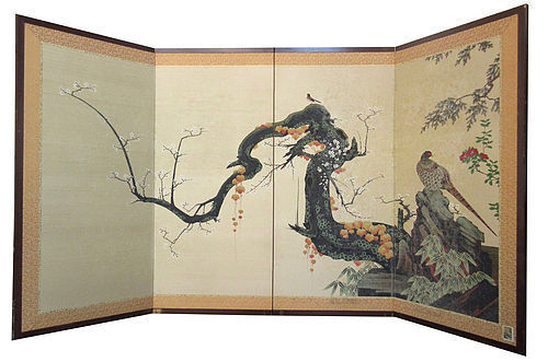 Japanese  4-Panel Byobu Screen with Quail