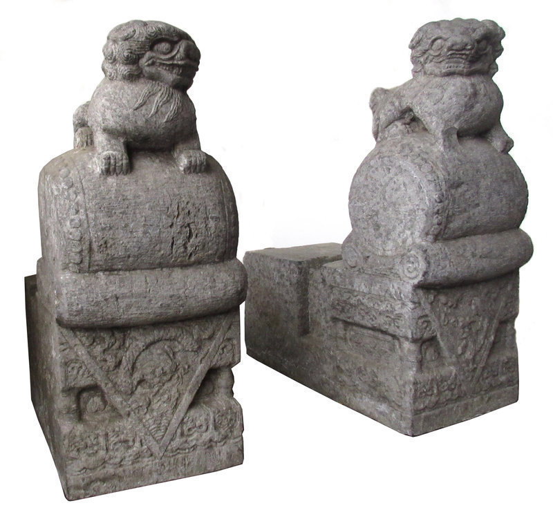Antique Chinese Pair of Stone Temple Door Supports