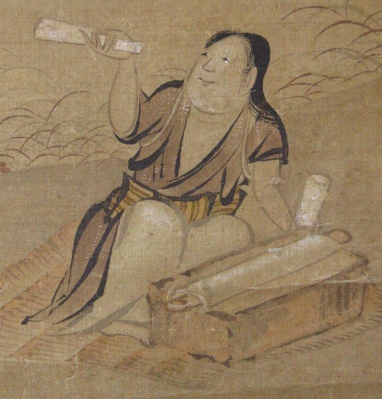 Japanese Momoyama Scroll Painting of a Woman