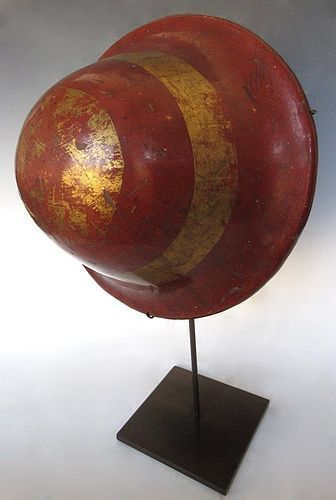 Antique Japanese Red Lacquer Jingasa