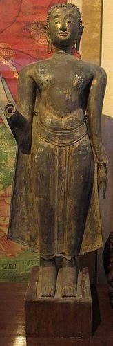 Thai Ayuttaya Standing Bronze Abhaya Buddha