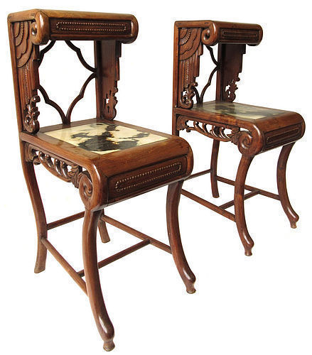 Antique Chinese Pair of Hardwood Stands with Marble Inlay