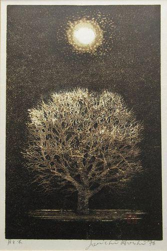 Japanese Framed Woodblock Print by Joichi Hoshi