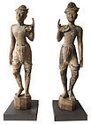 Antique Pair of Thai Male Attendant Statues