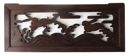 Antique Japanese Ranma (transom) with Rabbits