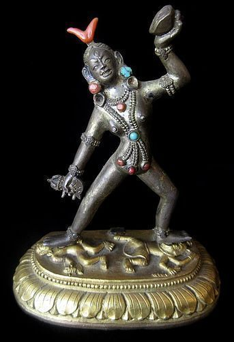 18th Century Tibetan Gilt Bronze Dakini