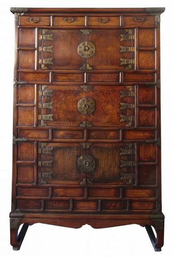 19th Century Korean Burl Front Cabinet