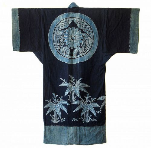 Antique Japanese Large Indigo Tsutsugaki Robe