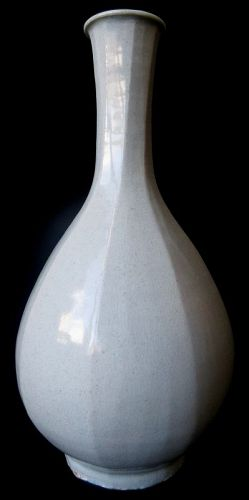 Antique Korean Faceted Crackle Porcelain Bottle