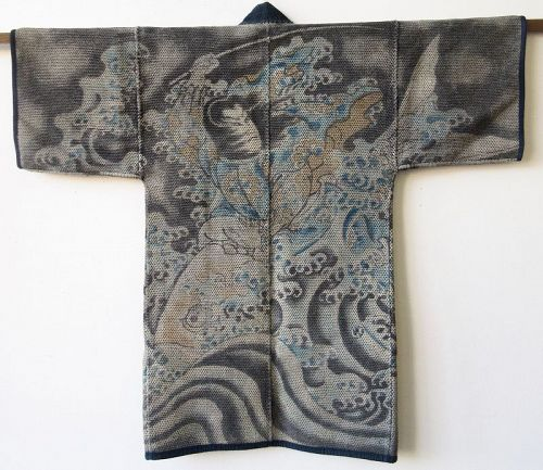 Antique Japanese Fireman's Coat with Kinko and Carp