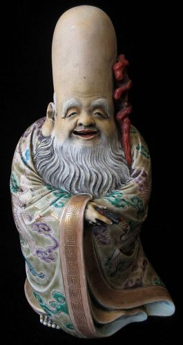 Antique Japanese Porcelain Figure of Fukurokuju