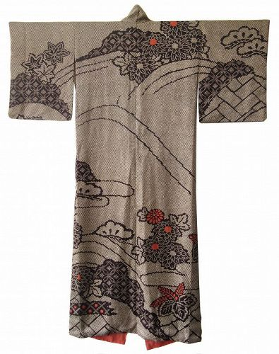 Japanese Silk Kimono with Flowers