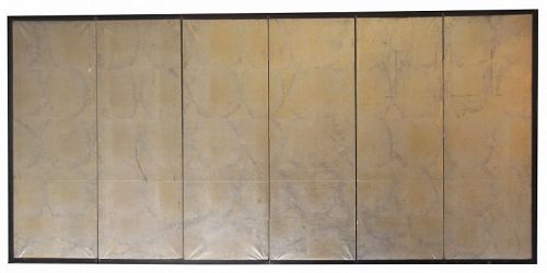 Small Antique Japanese 6 Panel Silver Screen