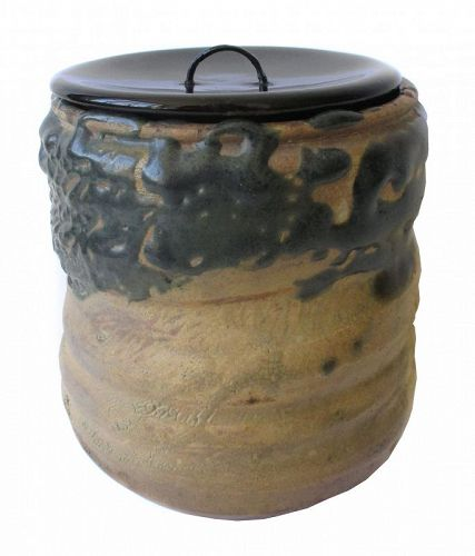 Japanese Antique Oribe Mizusashi (Water Container for Tea Ceremony)