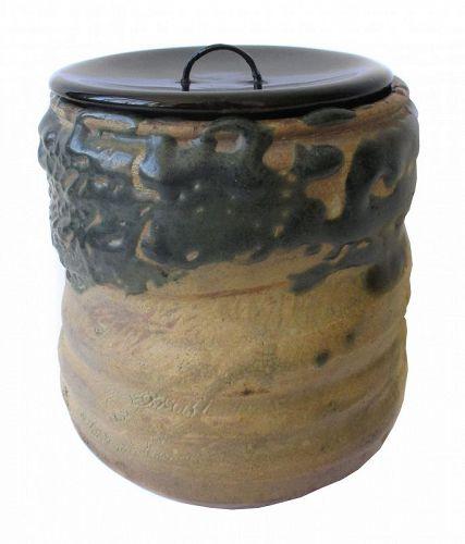 Japanese Antique Oribe Mizusashi (Water Container for Tea Ceremony)