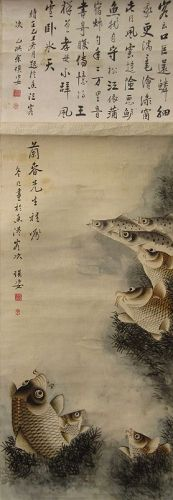 Antique Chinese Scroll Painting of Fish and Calligraphy