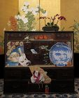 "Stunning Japanese Hand-Painted ""Fox and Persimmon Tansu"""