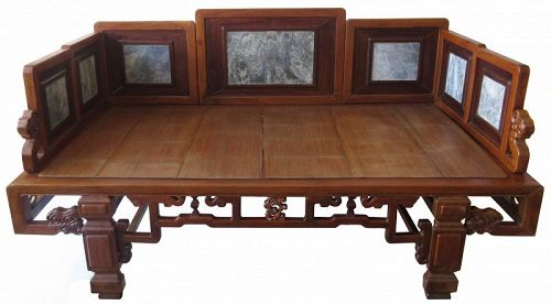 Antique Chinese Carved Lingzhi Bench With Marble