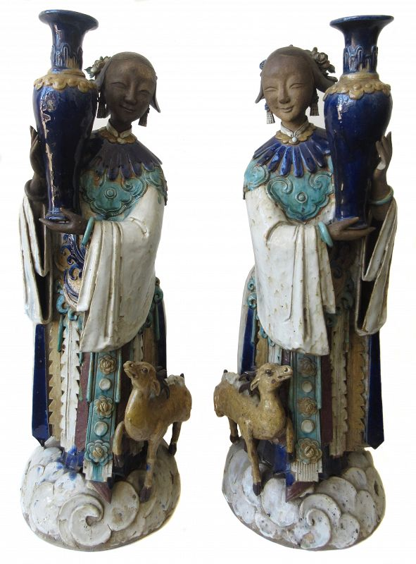 Antique Chinese Pair of Large Shiwan Goddesses