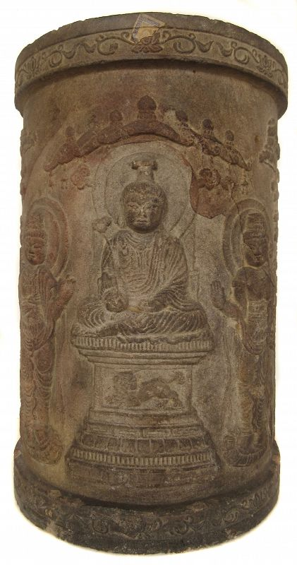 Chinese Tang Dynasty Sandstone Buddhist Sutra Container