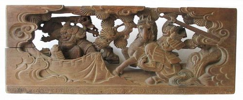 Japanese Edo Period Carved Transom with Samurai