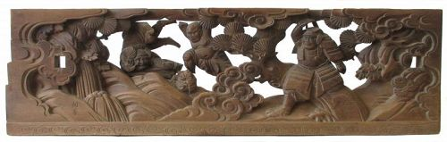 Japanese Edo Period Transom Carved with Benkei and Ushiwaka