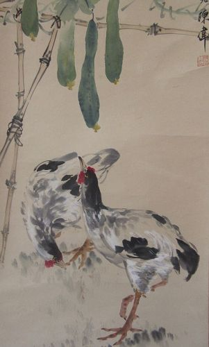 Chinese Scroll Painting of Chickens and Gourds