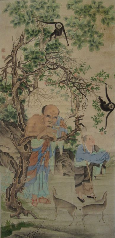 Antique Chinese Scroll Painting of Daoist and Monkeys