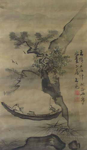 Japanese Edo Period Scroll Painting by Tani Buncho