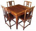 Antique Chinese Mahjong Table and Chairs Set