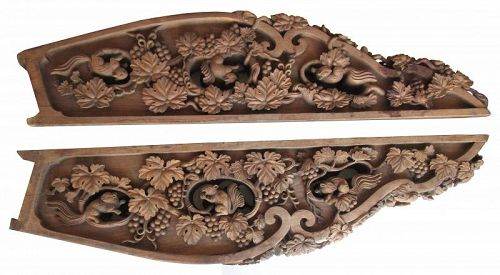 Large Pair of Carved Transom with Squirrel and Grape Motifs