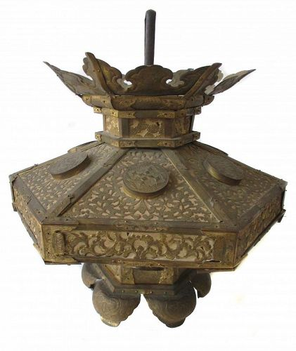 Japanese Antique Gilt Copper Temple Lantern