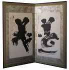 Antique Japanese Two Panel Calligraphy Screen