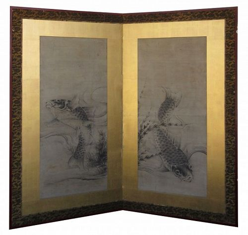 Antique Japanese Two Panel Screen of Swimming Carp
