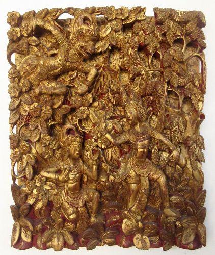 Antique Thai Gilt Wall Carving