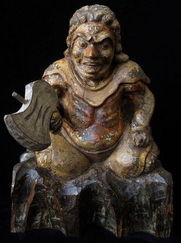 Antique Japanese Carving of a Figure with Axe