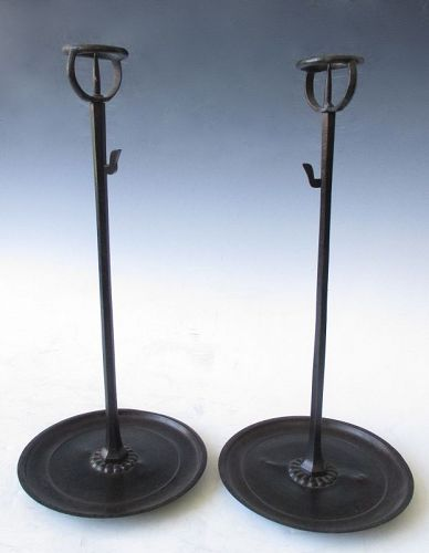 Japanese Antique Pair of Bronze Shokudai Candle Stands
